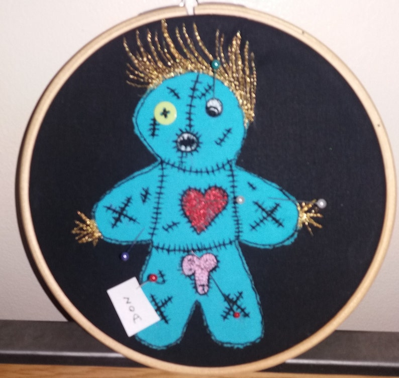 Quirky Unique Hand Made Penis Trump Zombie Voodoo Doll Embroidered pin  board style Unusual Wall Decor Hoop Great Revenge Divorce Gift