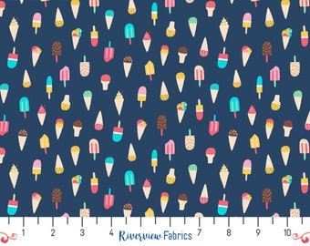 Ice Cream Cones - Blue   Dear Stella   Fabric By the Yard   Quilter's Cotton