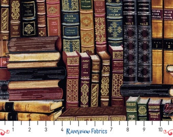 Old Fashioned Library Books   Timeless Treasures   Fabric By the Yard   Quilter's Cotton