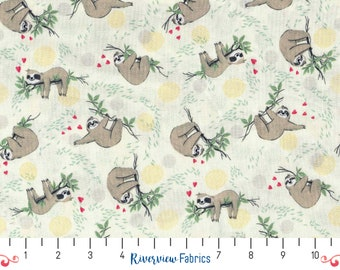Hanging Sloths on Branches   Timeless Treasures   Fabric By the Yard   Quilter's Cotton