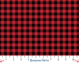 Wild at Heart - Buffalo Plaid - Red   Riley Blake   Fabric By the Yard   Quilter's Cotton