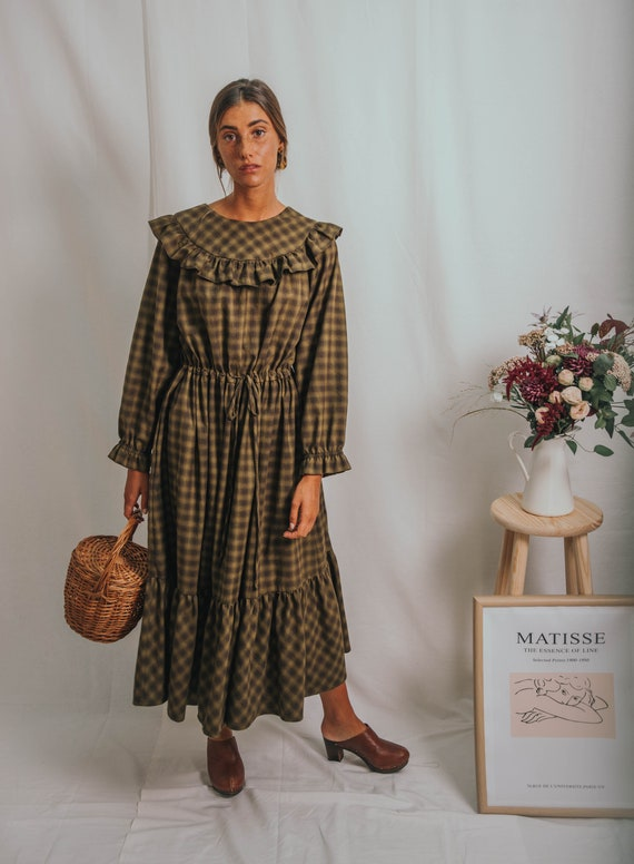 BOHO MAXI DRESSbohemian dresspeasant dresswinter dressprairie dressmaxi dress70s dressplaid dressruffle dressvintage dress