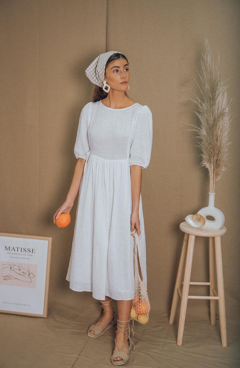 premium selection 3110b 940b5 Leinen Kleid weiß Leinen Kleid / weißes Kleid / Sommer Kleid / Midi Kleid /  Leinen Trägerkleid / Boho Brautkleid / Prärie Kleid/Bauern Kleid