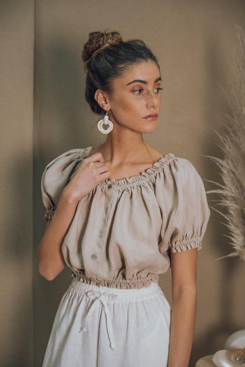 LINEN TOPpeasant blouse boho topfolk blousecrop topwhite top linen blousesummer top70s blouseedwardian blousemexican blouse