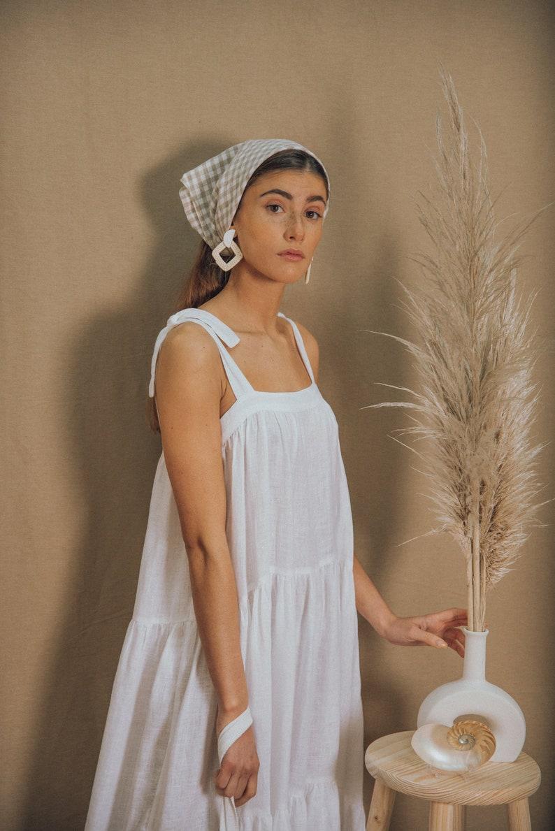 LINEN DRESS/boho dress/white linen dress/bohemian image 0