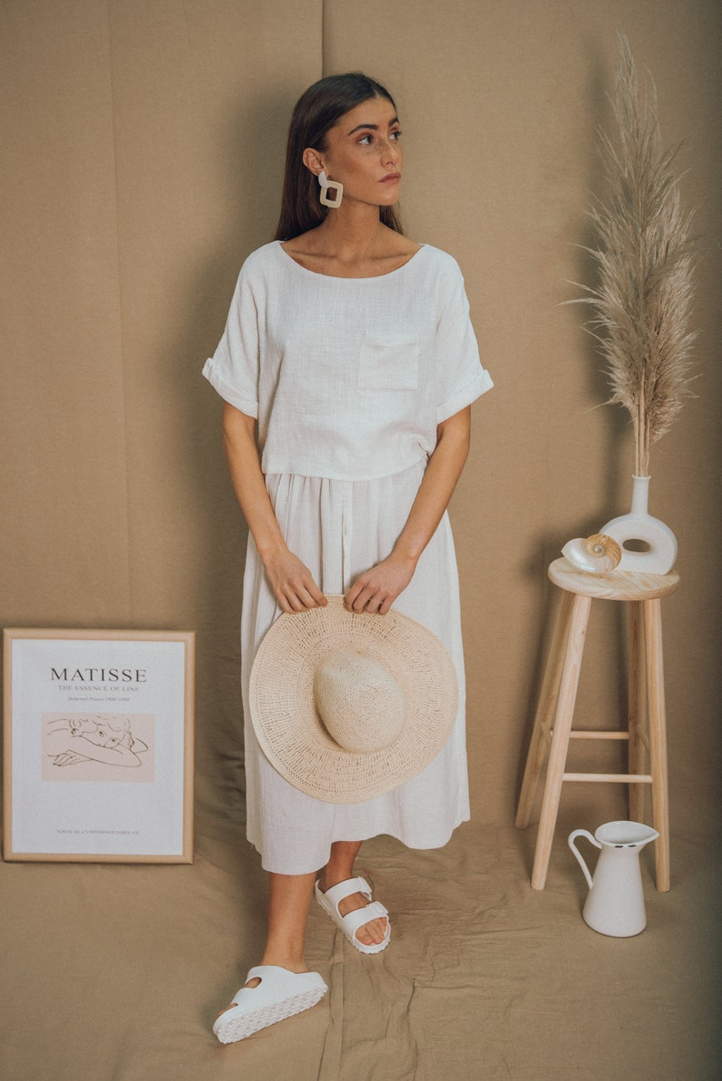 CROP TOPcotton top boho topsummer topwhite topminimal top white crop top oversize top organic clothing sustainable clothing