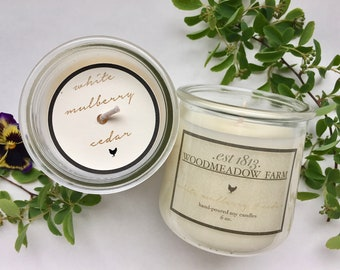 Soy candle//White Mulberry Cedar//scented//hand poured//gift//Mother's Day//upcycled//woodmeadowfarm