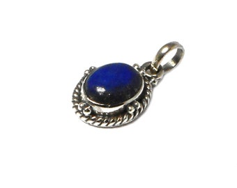 Oval  Afghanistani LAPIS LAZULI Sterling Silver 925 Pendant