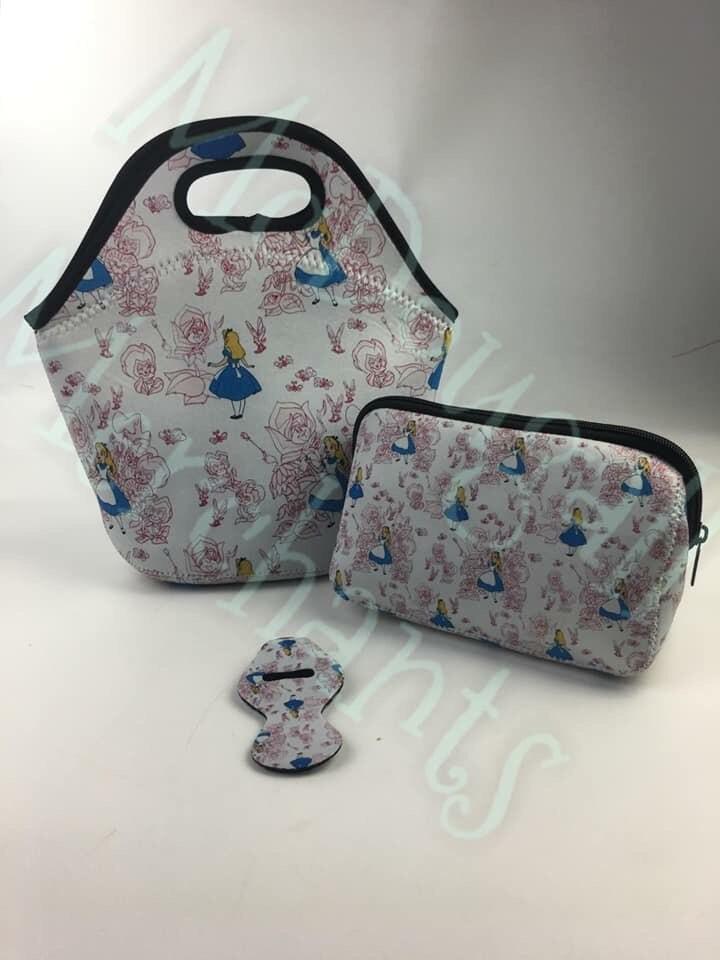 93b1d39e19a0 Neoprene Lunch Bags Harry Potter Inspired Alice in Wonderland   Etsy