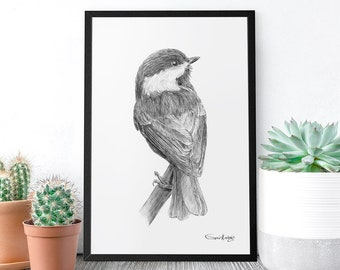 Chickadee Bird, Digital Download, Printable Art, Art Prints, Wall Art, Garden Bird, PNG art, Nursery wall art, Baby nursery decor