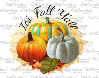 It's Fall Y'all, Pumpkin PNG, Fall PNG, Fall clipart, Its fall yall PNG, Watercolor Pumpkins, Fall Decor Halloween Pumpkins,