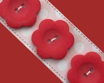 Red Flower 1 inch Button