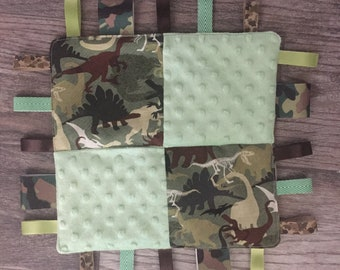 Baby Camo Dinosaur Sensory Blanket, Personalized, Embroidered Gift