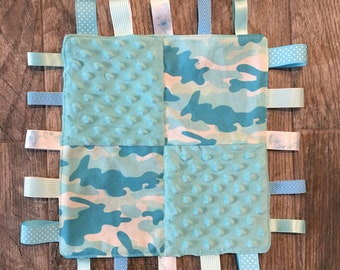 Baby Camo Sensory Blanket, Personalized, Embroidered Gift