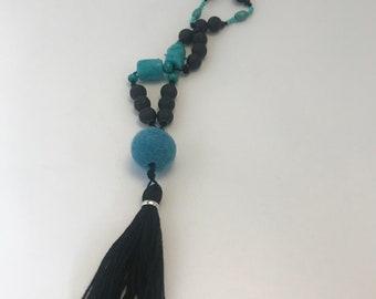 Black lava rocks boho necklace