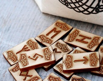 Norse Runes with cotton Bag Yggdrasil. Elder Futhark wooden Runes divination. Celtic set of 25 runes