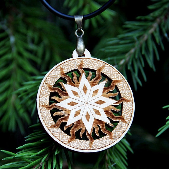 "Pagan amulet ""Alatyr""  Wood pendant  Slavic amulet  Scandinavian Star   Ancient pagan amulet  Double-sided 40 mm / 1 57 in"