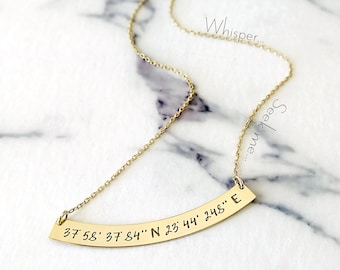 Custom Coordinates necklace, 14K solid gold coordinates necklace, Engraved coordinates bar necklace, Personalized, Location necklace, Curved