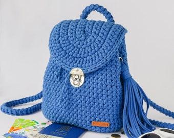 af86e209b3 Crochet backpack Bagpack Laptop Backpack Blue Hand-knit Rucksack Festival  backpack Womens backpack Everyday backpack Hipster backpack