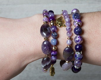 Chevron Amethyst Beaded Bracelet with Gold Hematite and Toggle Clasp, Valentine's Day One of a kind Gift for Her