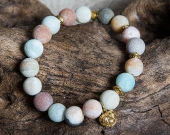 Matte Amazonite Women's Bracelet, Heart Filigree Charm, Unique Boho Gift for Aries, Jewelry Set