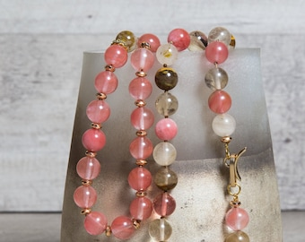 Pink Tourmaline n' Gold Hematite Jewelry Set, Necklace and  Bracelet, One of a kind 8th Anniversary Gift for Wife