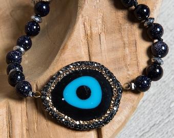Blue Goldstone Evil Eye Bracelet, Big Pave Pendant, Little Bird Charm, Gemstone Boho Bracelet for Gift