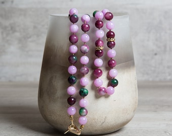 Violet n' Purple Long Jade Necklace, 12th Anniversary Gift for Her, One of a Kind