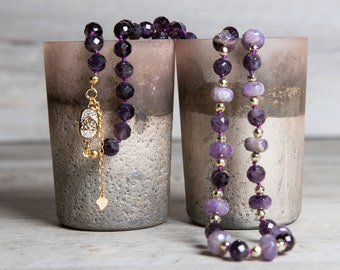 Long Elestial Amethyst Necklace with Gold Hematite and Gold Plated Zirconia Box Clasp, 40th Birthday Gifts for Women