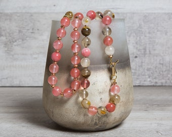 Pink Tourmaline n' Gold Hematite Beaded Necklace, One of a kind Long Bohemian Jewelry Set, 8th Anniversary Gift
