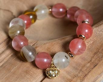 Pink Tourmaline Stretch Bracelet, Gold Hematite and Filigree Heart Charm, Unique Boho Jewelry Set, Gift for Scorpio Woman