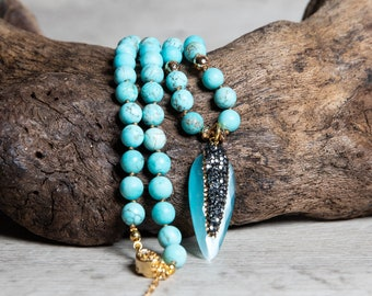 Matte Turquoise Pendant Necklace with Gold Hematite, Elegant Boho Jewelry for Summer, Mother's Day Gift