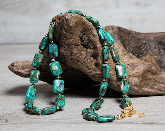 African Turquoise n' Gold Hematite Short Necklace, Gold Plated Box Clasp with Cubic Zirconia, One of a kind Gift