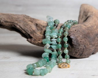 Natural Aventurine Necklace with Gold Hematite and Box Clasp, Long Aventurine Lucky Necklace, 40th Birthday Gifts for Women