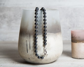 Long Hematite Beaded Necklace with Zirconia Spacers, Elegant Bloodstone Necklace, Birthstone Necklace for Mom, 50th Birthday Gift for Women