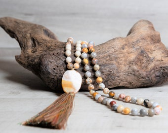 Natural Crazy Agate with Beige Fossil 108 Mala Necklace, Agate Geode Pendant, Golden Rayon Tassel, Prayer Beads, Anniversary Gift for Wife