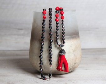Red Coral and Hematite Necklace, Raw Coral Paved Pendant, Platinum Plated Box Clasp, Long Boho Jewelry, 50th Birthday Gift for Women