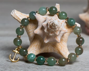 Green Aventurine Bracelet with Gold Hematite and Anchor Charm, Wide Stretch Bracelet for Woman, One of a Kind