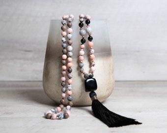 Natural Zebra Jasper 108 Mala Necklace with Black Agate Guru and Handmade Rayon Tassel, Anniversary Gift for Wife, Reiki Healing