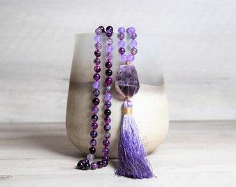 Purple Dragon Agate n' Malaysian Jade Mala, Amethyst Pendant, Handmade Rayon Tassel, Boho Necklace, 40th Birthday Gifts for Women