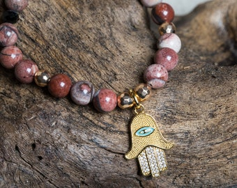 Red Picture Jasper and Hamsa Hand Stretch Bracelet, Unique Bohemian Jewelry Gifts