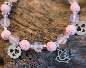 Rose Quartz n' Lava Bracelet, Birds and Hearts, Pale Pink Wristlet with Crystals, Unconditional Love, Unique Gift for Her