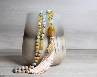 Yellow Agate n' Moonstone Mala with Hamsa Hand - Raw Agate Pendant - Handmade Rayon Tassel - Long Boho Necklace - 8th Anniversary Gift