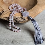 Cherry Blossom JASPER MALA Necklace, Silver Polygon Hematite, Bright Pink AGATE Guru Bead and Silver Gray Tassel, New Mom One of a Kind Gift
