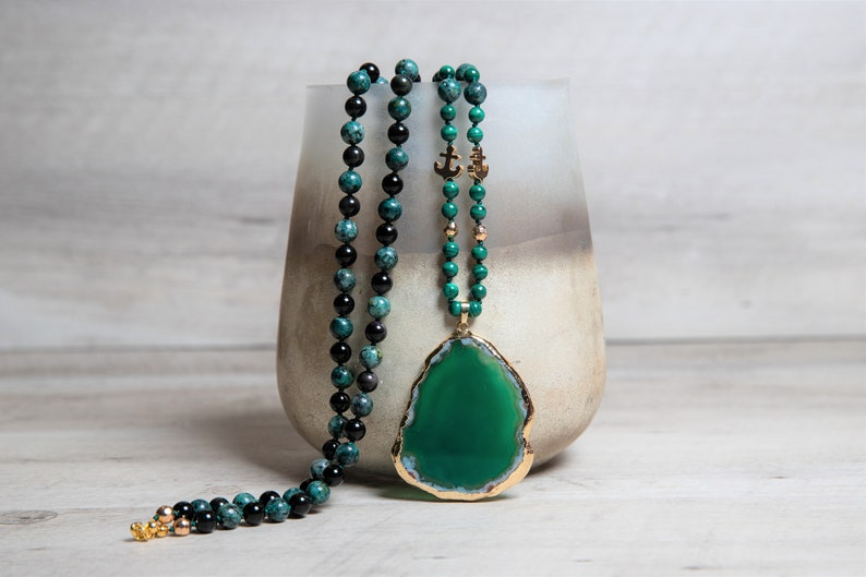 Long Boho Malachite Necklace with Black Obsidian and African image 0