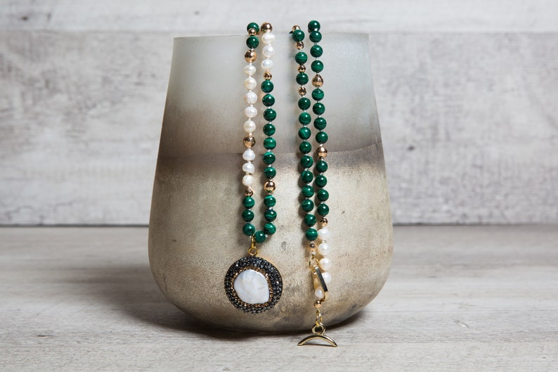 Natural Malachite Pearl Necklace Mother of Pearl Pave image 0