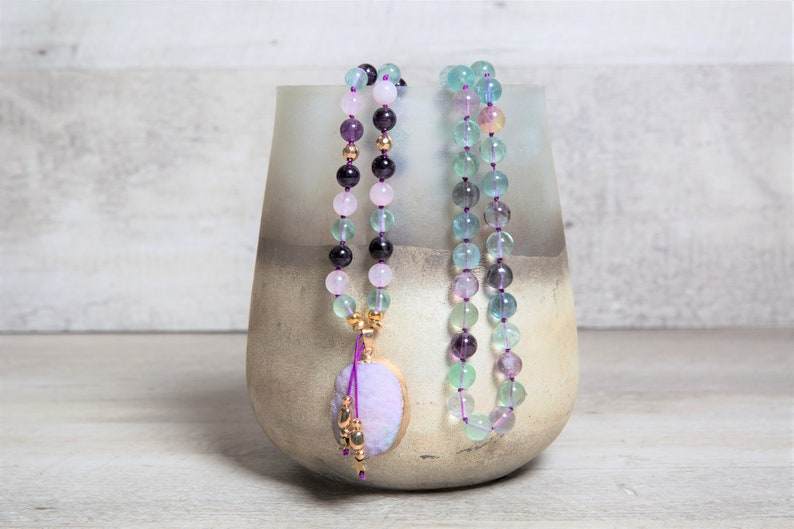 Fluorite Amethyst n' Rose Quartz Long Mala Necklace with image 0