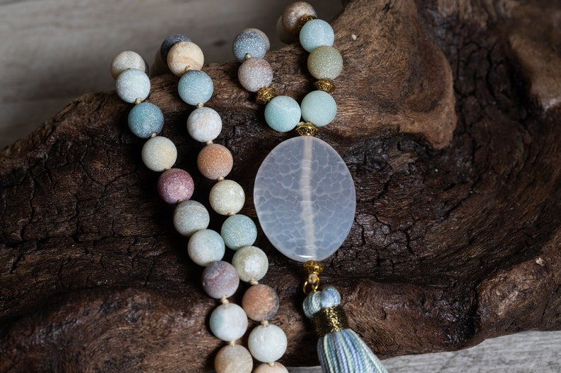 Matte Amazonite Mala Necklace n' Bracelet Amazonite image 0