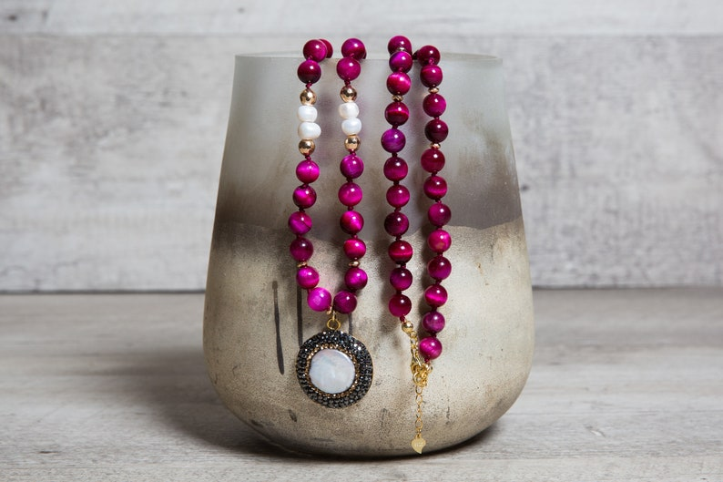 Fuchsia Tiger's Eye Pearl n' Hematite Long Necklace image 0