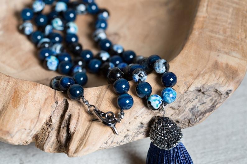 Blue Lace Agate Long Tassel Necklace Pave Strass Cap Unique image 0